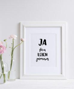 Poster Hochzeit, Brush Lettering, Geschenk Hochzeit Ja für ein leben zusammen