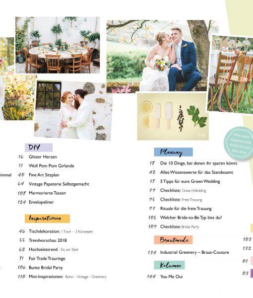 Inhaltsverzeichnis zum Hochzeitsmagazin 2018