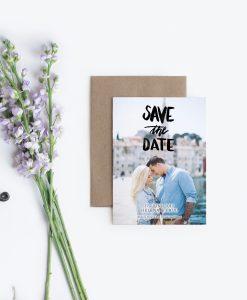 Save the Date Karte zum Ausdrucken Brush Lettering