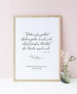 Geschenk zur Hochzeit, Poster personalisiert zur Hochzeit mit Namen des Brautpaares, Hochzeitsposter Buch Rut Trauspruch Wohin du gehst