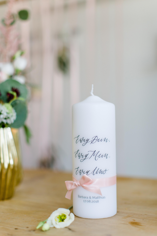 personalisierte Hochzeitskerze Traukerze Kalligrafie Ewig uns für ...