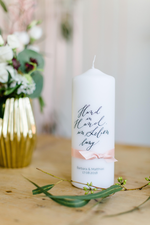 personalisierte Hochzeitskerze Kalligrafie Hand in Hand ein Leben ...