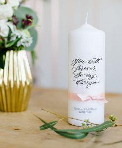 Hochzeitskerze modern mit Spruch