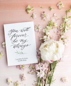 Hochzeitsposter und Schild mit Namen des Brautpaares individualisierbar you will forever be my always