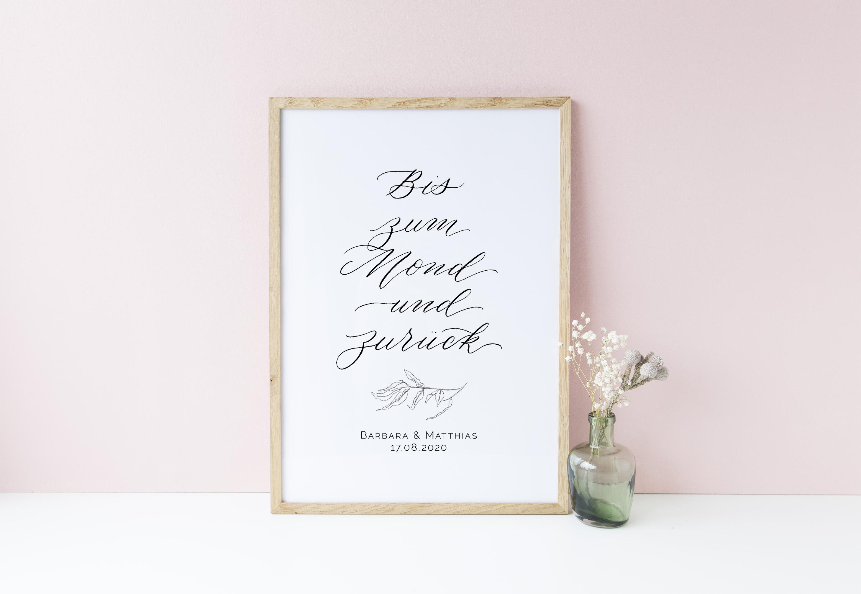 poster hochzeit und geschenk zur hochzeit bis zum mond und zur ck the little wedding corner shop. Black Bedroom Furniture Sets. Home Design Ideas
