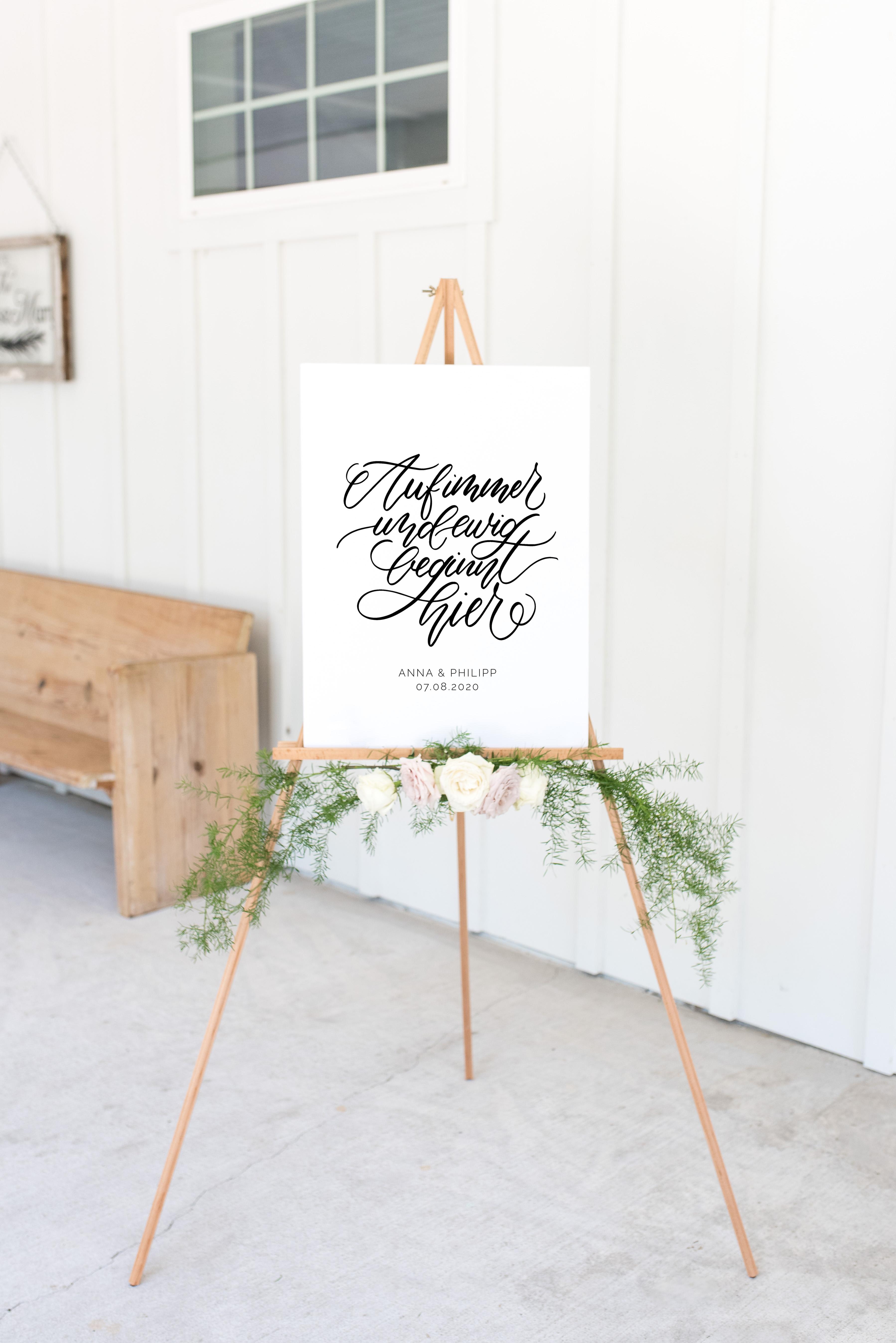Hochzeit Schild Willkommen