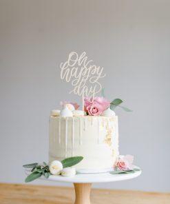 Cake Topper Hochzeit Oh happy Day, Taufe, Geburtstag, Silvester