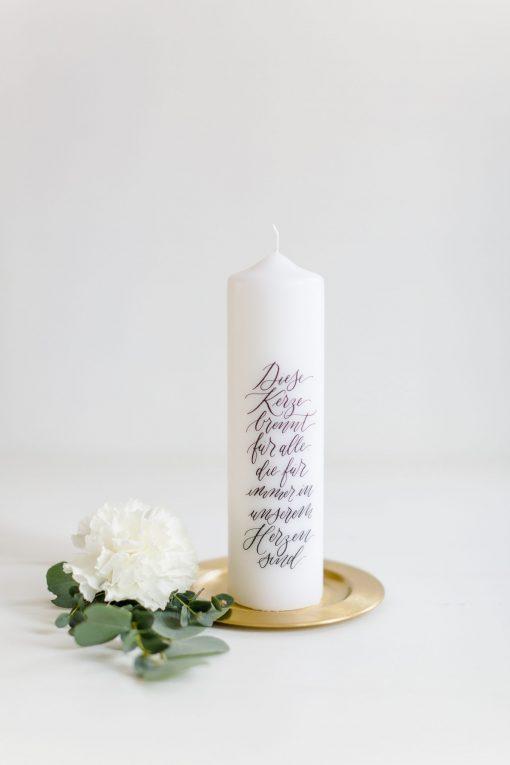 """Gedenkkerze Hochzeit, Trauerkerze Hochzeit """"Diese Kerze brennt für alle, die für immer in unserem Herzen sind"""""""
