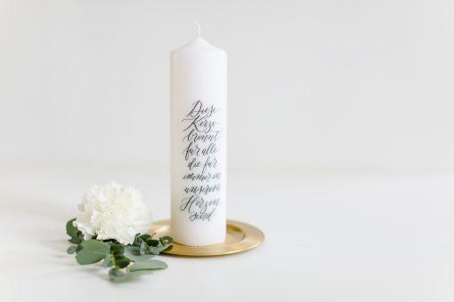 """Gedenkkerze Hochzeit, Trauerkerze Hochzeit """"Dise Kerze brennt für alle, die für immer in unserem Herzen sind"""""""
