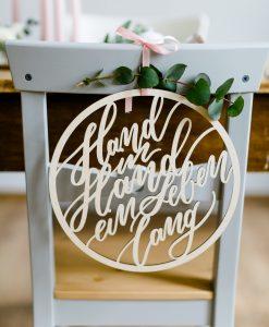 Schild Hochzeit Hand in hand ein Leben lang, Holzschild Hochzeit, Stuhlschild Hochzeit