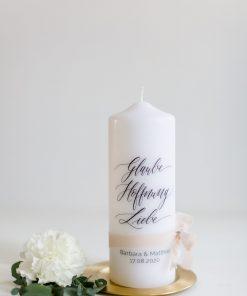 Hochzeitskerze Glaube Hoffnung Liebe, Traukerze personalisiert, individuell
