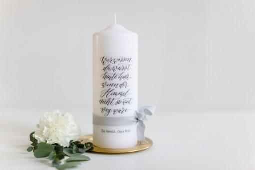 Gedenkkerze Hochzeit, Gedenkkerze, Trauerkerze Hochzeit, Gedenkkerze Verstorbene personalisiert