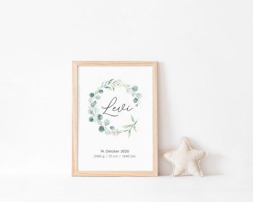 Geschenk Geburt personalisiert, Geburt Poster Eukalyptus, Geburt Poster personalisiert